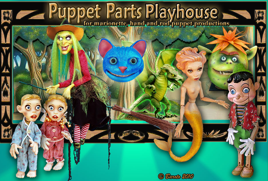 Puppet Parts - This photo of the Puppet Parts Playhouse shows many of the fairytale marionette and puppet characters available in our Puppet Parts catalog - Designed and Created by, Michael Baroto: The witch, from Hansel and Gretel; Peter and Laurie, from The Night Before Christmas; The Cheshire Cat, from Alice in Wonderland; The Little Mermaid; Pinocchio; The Giant, from Jack the Giant-Killer, and our Fairytale Dragon with addiitional links to the Wizard of Oz, Cinderella, Beauty and the Beast and more.  © 2010